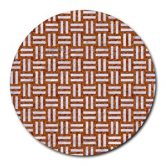 Woven1 White Marble & Rusted Metal Round Mousepads