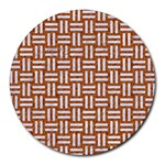 WOVEN1 WHITE MARBLE & RUSTED METAL Round Mousepads Front