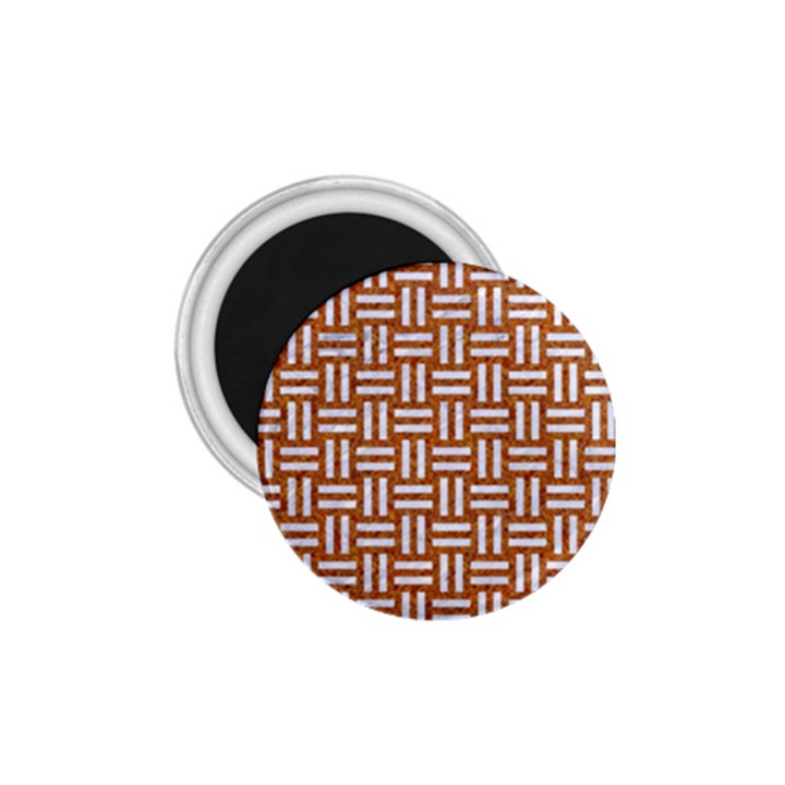 WOVEN1 WHITE MARBLE & RUSTED METAL 1.75  Magnets