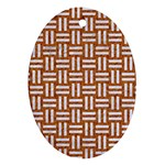WOVEN1 WHITE MARBLE & RUSTED METAL Ornament (Oval) Front
