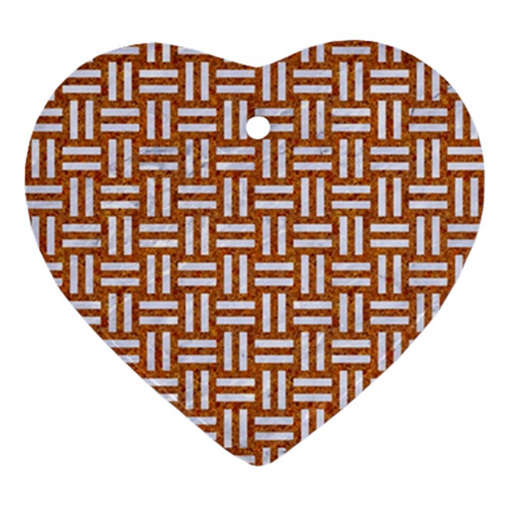 WOVEN1 WHITE MARBLE & RUSTED METAL Ornament (Heart)