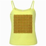 WOVEN1 WHITE MARBLE & RUSTED METAL Yellow Spaghetti Tank Front