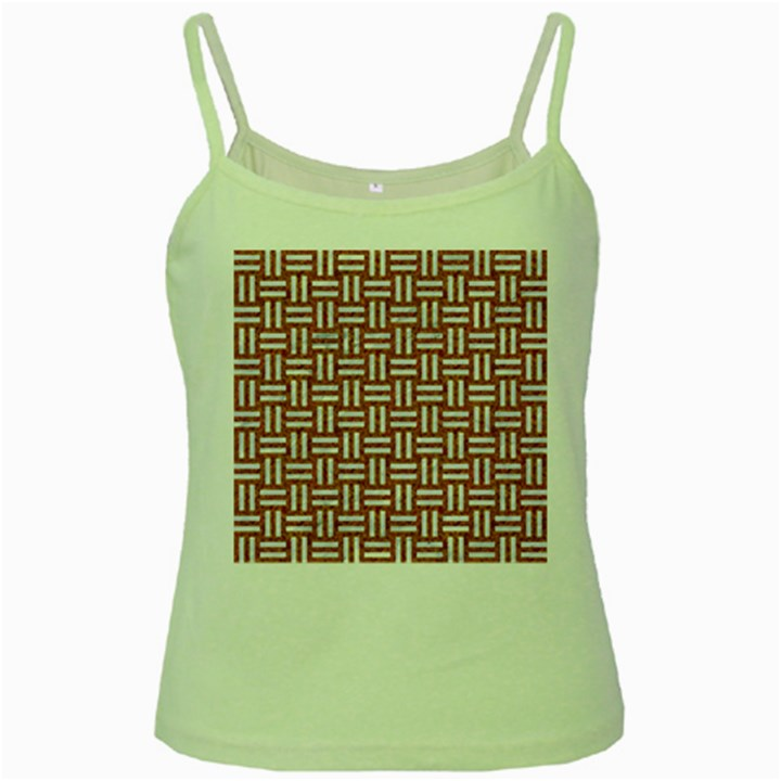 WOVEN1 WHITE MARBLE & RUSTED METAL Green Spaghetti Tank