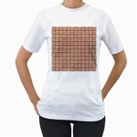WOVEN1 WHITE MARBLE & RUSTED METAL Women s T-Shirt (White) (Two Sided) Front