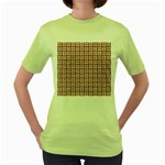 WOVEN1 WHITE MARBLE & RUSTED METAL Women s Green T-Shirt Front