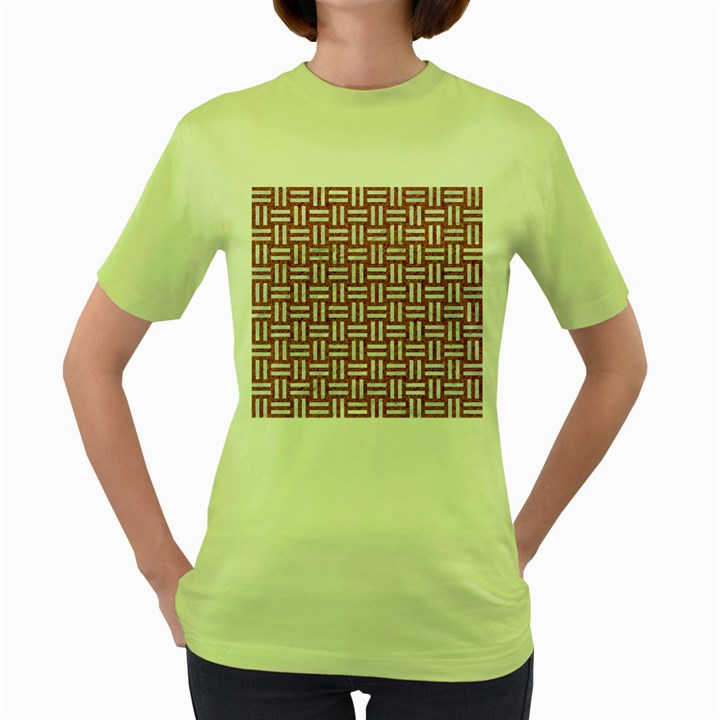 WOVEN1 WHITE MARBLE & RUSTED METAL Women s Green T-Shirt