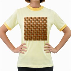 Woven1 White Marble & Rusted Metal Women s Fitted Ringer T Shirts