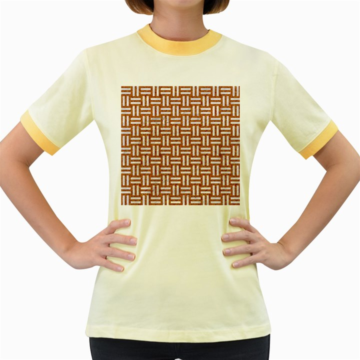 WOVEN1 WHITE MARBLE & RUSTED METAL Women s Fitted Ringer T-Shirts