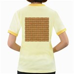 WOVEN1 WHITE MARBLE & RUSTED METAL Women s Fitted Ringer T-Shirts Back