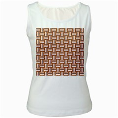 Woven1 White Marble & Rusted Metal Women s White Tank Top