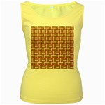 WOVEN1 WHITE MARBLE & RUSTED METAL Women s Yellow Tank Top Front
