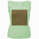 WOVEN1 WHITE MARBLE & RUSTED METAL Women s Green Tank Top Front