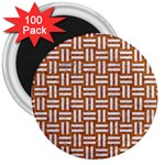 WOVEN1 WHITE MARBLE & RUSTED METAL 3  Magnets (100 pack) Front
