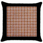 WOVEN1 WHITE MARBLE & RUSTED METAL Throw Pillow Case (Black) Front