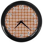 WOVEN1 WHITE MARBLE & RUSTED METAL Wall Clocks (Black) Front