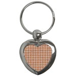 WOVEN1 WHITE MARBLE & RUSTED METAL Key Chains (Heart)  Front