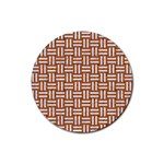 WOVEN1 WHITE MARBLE & RUSTED METAL Rubber Coaster (Round)  Front