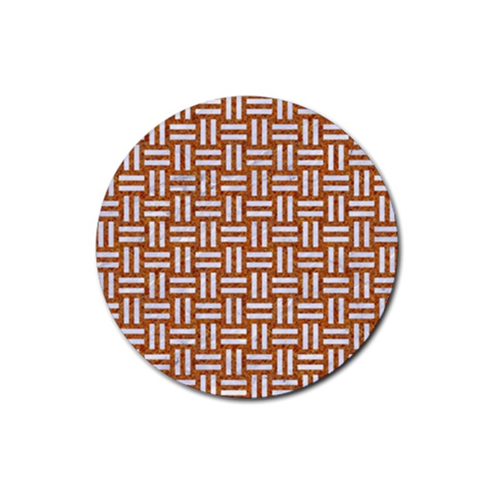 WOVEN1 WHITE MARBLE & RUSTED METAL Rubber Round Coaster (4 pack)