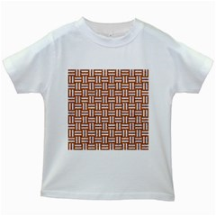 Woven1 White Marble & Rusted Metal Kids White T Shirts