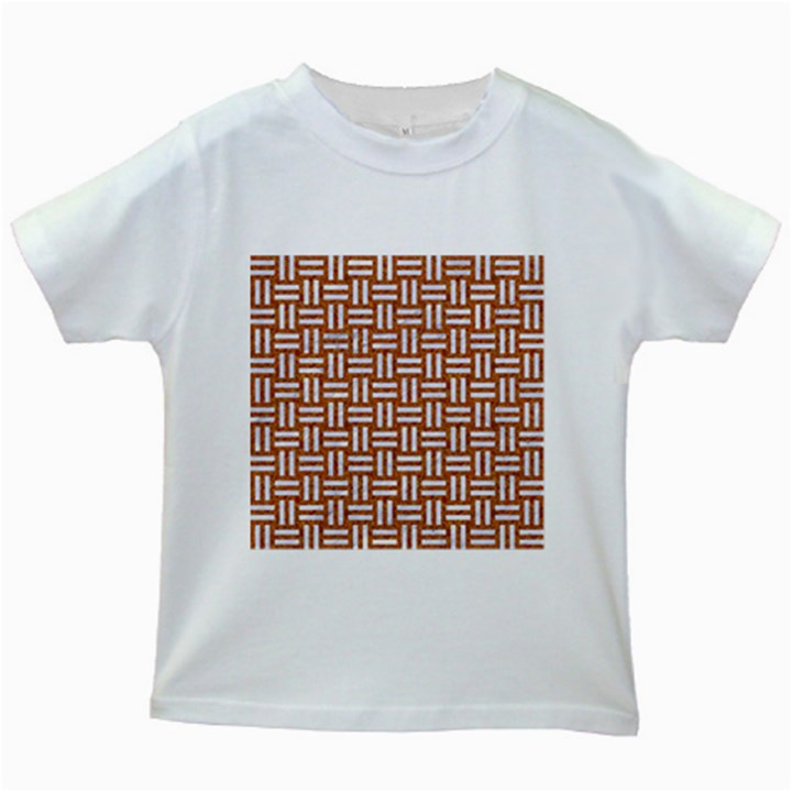 WOVEN1 WHITE MARBLE & RUSTED METAL Kids White T-Shirts
