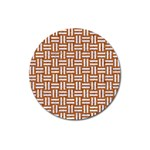 WOVEN1 WHITE MARBLE & RUSTED METAL Magnet 3  (Round) Front