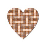 WOVEN1 WHITE MARBLE & RUSTED METAL Heart Magnet Front