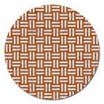 WOVEN1 WHITE MARBLE & RUSTED METAL Magnet 5  (Round) Front