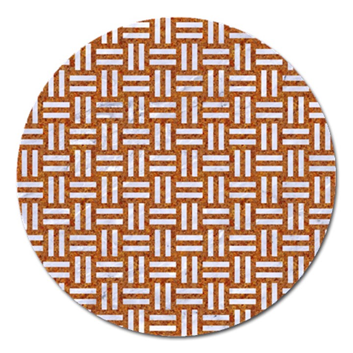 WOVEN1 WHITE MARBLE & RUSTED METAL Magnet 5  (Round)