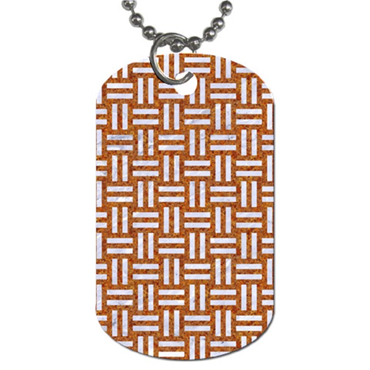 WOVEN1 WHITE MARBLE & RUSTED METAL Dog Tag (One Side)