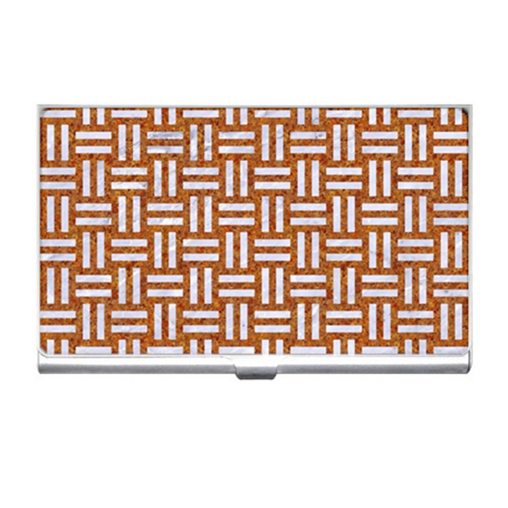 WOVEN1 WHITE MARBLE & RUSTED METAL Business Card Holders