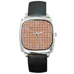 WOVEN1 WHITE MARBLE & RUSTED METAL Square Metal Watch Front