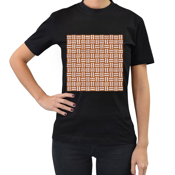 WOVEN1 WHITE MARBLE & RUSTED METAL Women s T-Shirt (Black) (Two Sided)