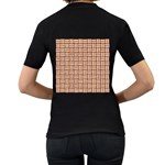 WOVEN1 WHITE MARBLE & RUSTED METAL Women s T-Shirt (Black) (Two Sided) Back