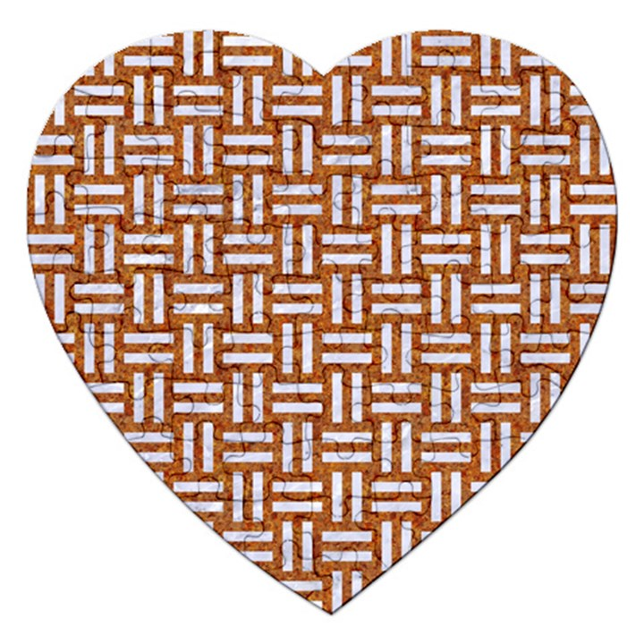 WOVEN1 WHITE MARBLE & RUSTED METAL Jigsaw Puzzle (Heart)