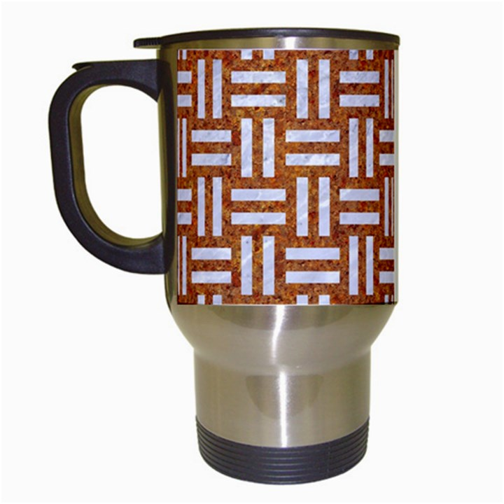 WOVEN1 WHITE MARBLE & RUSTED METAL Travel Mugs (White)