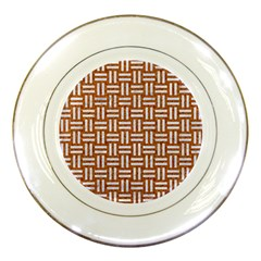 Woven1 White Marble & Rusted Metal Porcelain Plates