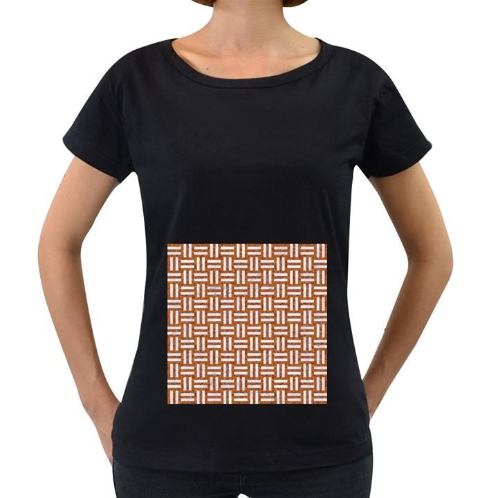 WOVEN1 WHITE MARBLE & RUSTED METAL Women s Loose-Fit T-Shirt (Black)