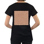 WOVEN1 WHITE MARBLE & RUSTED METAL Women s Loose-Fit T-Shirt (Black) Back