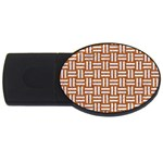 WOVEN1 WHITE MARBLE & RUSTED METAL USB Flash Drive Oval (4 GB) Front