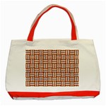 WOVEN1 WHITE MARBLE & RUSTED METAL Classic Tote Bag (Red) Front