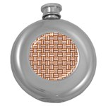 WOVEN1 WHITE MARBLE & RUSTED METAL Round Hip Flask (5 oz) Front