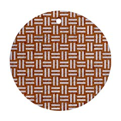 Woven1 White Marble & Rusted Metal Round Ornament (two Sides)