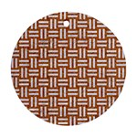 WOVEN1 WHITE MARBLE & RUSTED METAL Round Ornament (Two Sides) Back