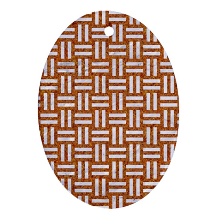 WOVEN1 WHITE MARBLE & RUSTED METAL Oval Ornament (Two Sides)