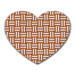 Woven1 White Marble & Rusted Metal Heart Mousepads