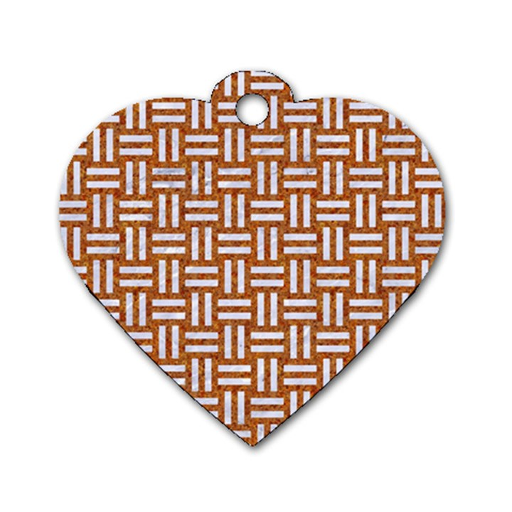 WOVEN1 WHITE MARBLE & RUSTED METAL Dog Tag Heart (One Side)