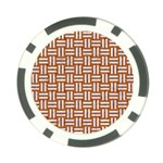 WOVEN1 WHITE MARBLE & RUSTED METAL Poker Chip Card Guard Front
