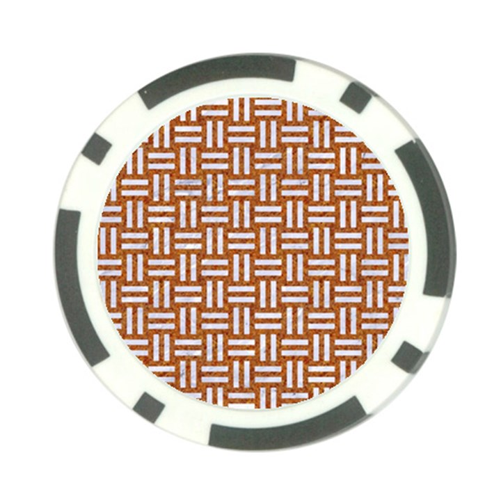 WOVEN1 WHITE MARBLE & RUSTED METAL Poker Chip Card Guard