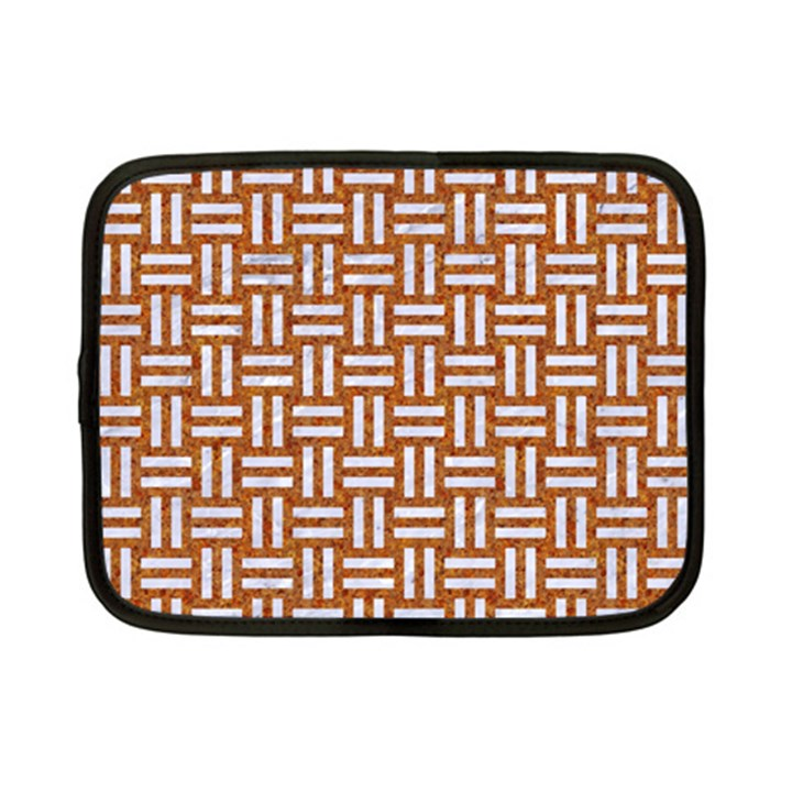 WOVEN1 WHITE MARBLE & RUSTED METAL Netbook Case (Small)