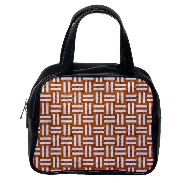 WOVEN1 WHITE MARBLE & RUSTED METAL Classic Handbags (One Side)